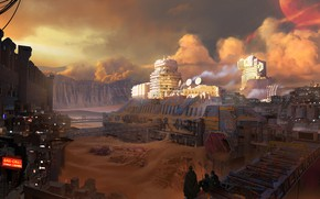 Обои fantasy, sky, clouds, people, sand, planet, digital art, buildings, artwork, fantasy art, futuristic, sandstorm, cities, ...