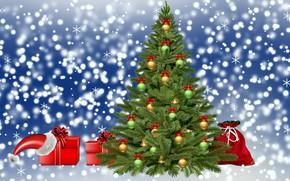 Картинка zima, Boże Narodzenie, choinka, prezenty