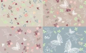 Обои background, текстура, бабочки, butterflies, фон, вектор, цветы, pattern