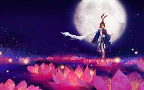 Картинка девушка, цветы, фон, луна