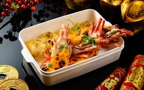 Картинка краб, еда, морепродукты, лапша