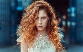 Картинка girl, long hair, dress, photo, photographer, blue eyes, model, bokeh, lips, face, redhead, portrait, mouth, …
