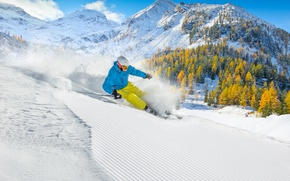 Картинка Зима, Горы, Снег, Спорт, Лыжник