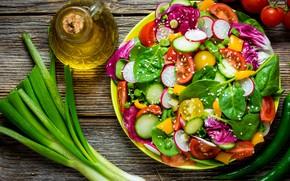 Картинка зелень, масло, лук, овощи, салат