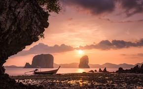 Обои закат, Thailand, скалы, небо, Krabi, море, Тайланд, лодка, Hong Islands