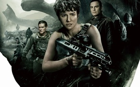 Обои Alien: Covenant, film, robot, gun, rifle, movie, weapon, human, alien, cinema
