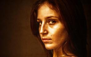 Картинка girl, brown, art, beauty, glance, canvas, Kide Fotoart
