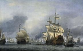 Обои парус, Виллем ван де Велде Младший, Захват Флагмана Английского Флота, масло, картина, корабль, холст