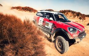 Картинка Песок, Красный, Авто, Mini, Пыль, Спорт, Пустыня, Машина, Скорость, Гонка, Автомобиль, Rally, Внедорожник, Ралли, X-Raid …