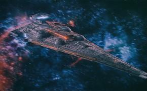 Картинка космос, корабль, звёзды, аппарат, interdictor cruiser star destroyer class