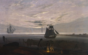 Картинка пейзаж, корабль, картина, костер, Каспар Давид Фридрих, Вечер на Балтике, парцс