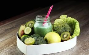 Картинка яблоко, киви, огурец, банка, лайм, напиток, фрукты, овощи, авокадо, брокколи, смузи