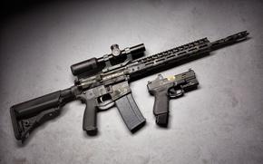 Картинка пистолет, оружие, оптика, glock, штурмовая винтовка