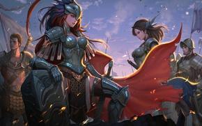 Картинка girl, sword, fantasy, soldier, armor, Warrior, artwork, shield, fantasy art, cloak, knight, helmet, arms