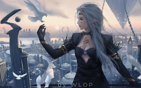 Обои city, girl, fantasy, long hair, dress, birds, tattoo, elf, digital art, dove, buildings, artwork, princess, ...