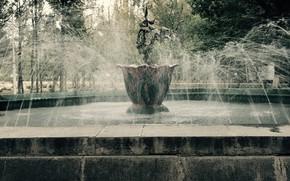 Картинка фонтан, старый парк, Городской фонтан