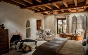 Картинка стол, кровать, кресло, потолок, камин, спальня