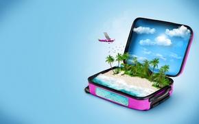 Обои облака, синий, рыбы, птицы, море, чемодан, пляж, зонт, шезлонг, самолет, фон, 3D Графика, отдых, пальмы