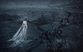 Картинка азиатка, платье, снег, девушка