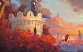 Картинка небо, облака, деревья, закат, птица, башня, арт, секира, стражник