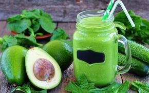Картинка зелень, банка, трубочка, напиток, витамины, огурцы, авокадо, смузи, детокс