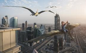 Картинка город, ребенок, мальчик, полёт, Дубай, верхом, птеродактили