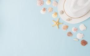 Картинка лето, фон, шляпа, ракушки, summer, beach, marine, composition, seashells