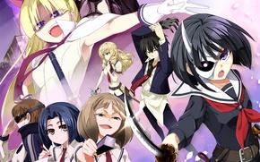 Картинка girl, sword, anime, dog, katana, ken, blade, mask, seifuku, Armed Girl's Machiavellism, Busou Shoujo Machiavellianism