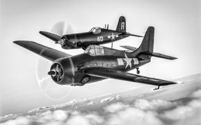 Обои FM-2, два самолёта, F4U-7