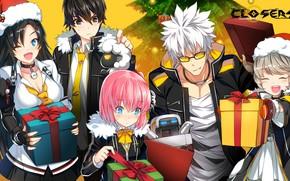 Обои MMO, девушки, Аниме, елка, слэшер, экшен, желтый фон, парни, Closers, арт, подарки