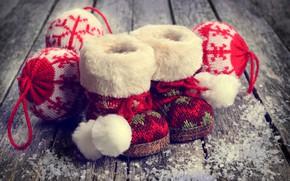 Картинка снег, украшения, шары, игрушки, шерсть, Новый Год, Рождество, сапожки, happy, Christmas, vintage, wood, snow, New …