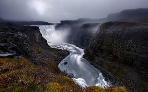 Картинка водопад, каньон, Исландия, Iceland, Dettifoss