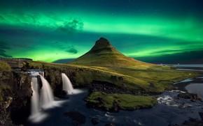 Картинка ночь, северное сияние, водопады, Исландия