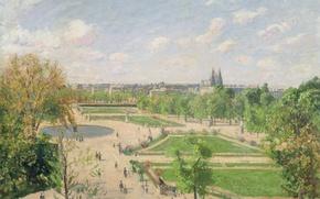 Обои Камиль Писсарро, город, Сады Тюильри. Утро. Весна, Париж, пейзаж, парк, картина