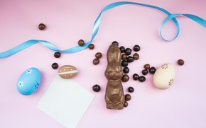 Картинка Шоколад, яйца, пасха, лента, Праздник, Заяц, шоколадные конфеты