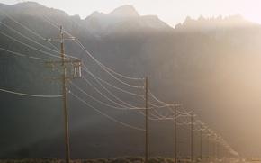 Картинка дорога, свет, туман, утро, лэп