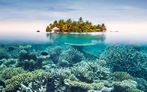 Картинка небо, океан, остров, курорт, под водой, сплит