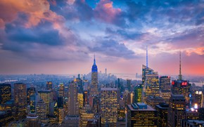 Картинка облака, город, огни, США, Нью Йорк
