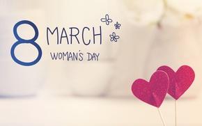Обои Women's Day, romantic, gift, 8 марта, сердечки, heart, happy