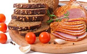 Картинка хлеб, мясо, доска, помидоры, ветчина