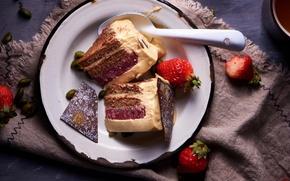 Картинка клубника, торт, десерт