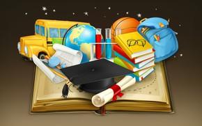 Обои бумага, фон, мяч, книги, вектор, звёзды, карандаши, очки, автобус, школа, рюкзак, глобус, колпак, циркуль, ранец, ...