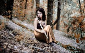 Картинка девушка, природа, флейта