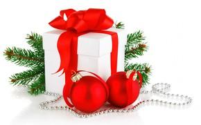 Картинка шарики, украшения, подарок, игрушки, Новый Год, Рождество