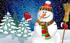 Картинка Зима, Снег, Новый Год, Рождество, Снежинки, Елка, Праздник, Ёлка, Снеговик, Шарфик