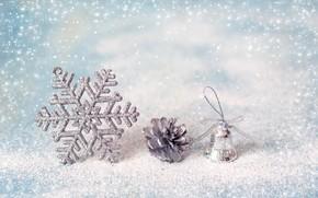 Картинка зима, снег, украшения, снежинки, Новый Год, Рождество, happy, Christmas, winter, snow, New Year, Merry Christmas, …