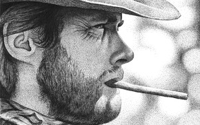 Картинка шляпа, сигарета, Клинт Иствуд, актёр, лицо, профиль, Clint Eastwood
