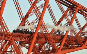 Картинка мост, поезд, вагоны, Scotland, Forth Bridge