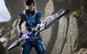 Картинка game, weapon, woman, brunette, Paragon
