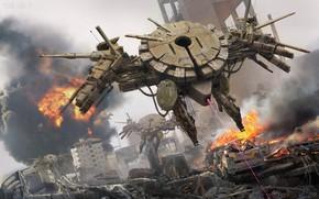 Картинка город, огонь, взрывы, разрушения, Security Phalanx